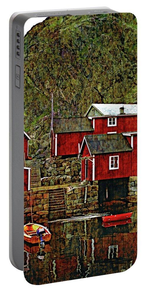 Lofoten Portable Battery Charger featuring the photograph Lofoten Fishing Huts Overlay Version by Steve Harrington