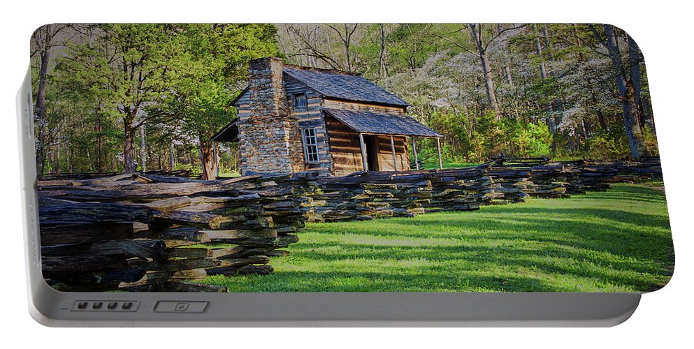 Nature Portable Battery Charger featuring the photograph Log Cabin, Smoky Mountains, Tennessee by Stanton Tubb