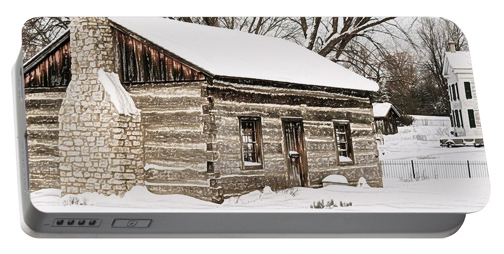 Troy Portable Battery Charger featuring the photograph Log Home by Michael Peychich