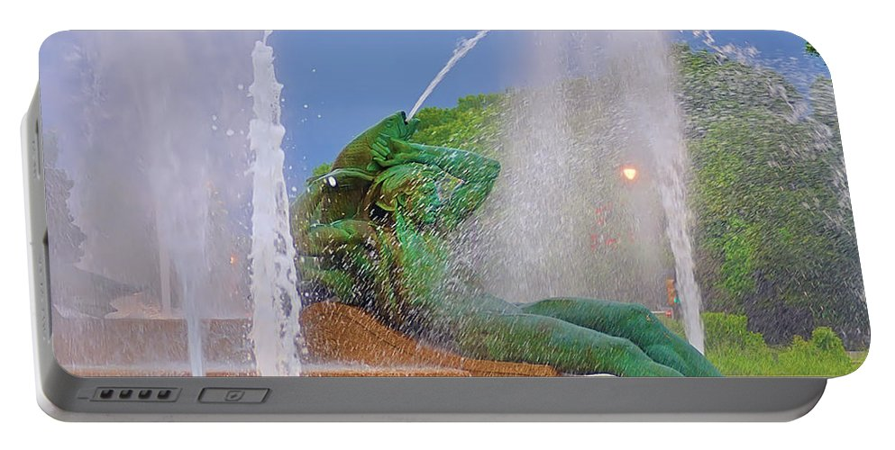Fountain Portable Battery Charger featuring the photograph Logan Circle Fountain 3 by Bill Cannon