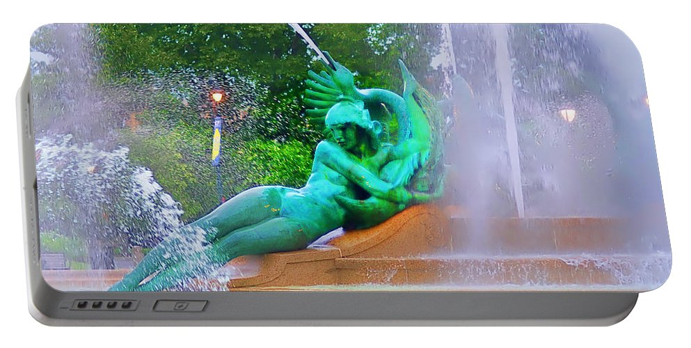 Fountain Portable Battery Charger featuring the photograph Logan Circle Fountain 6 by Bill Cannon