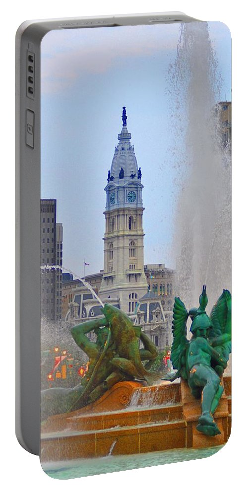 Fountain Portable Battery Charger featuring the photograph Logan Circle Fountain With City Hall In Backround 3 by Bill Cannon