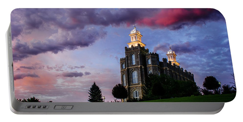 Logan Temple Portable Battery Charger featuring the photograph Logan Temple Heaven's Light by La Rae Roberts