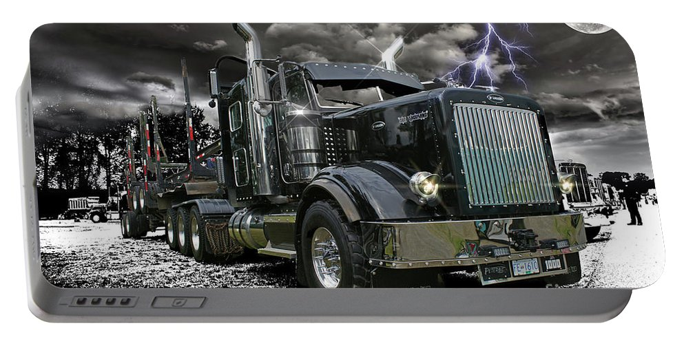 Trucks Portable Battery Charger featuring the photograph Logger On A Stormy Night by Randy Harris