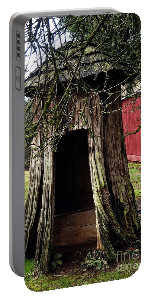 Clay Portable Battery Charger featuring the photograph Loggers Outhouse by Clayton Bruster