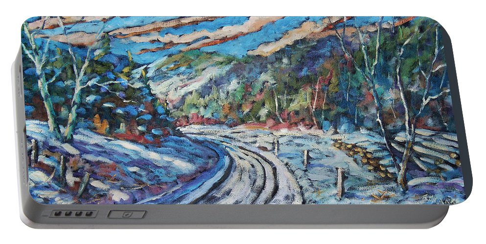 Loggers Portable Battery Charger featuring the painting Loggers Road by Richard T Pranke