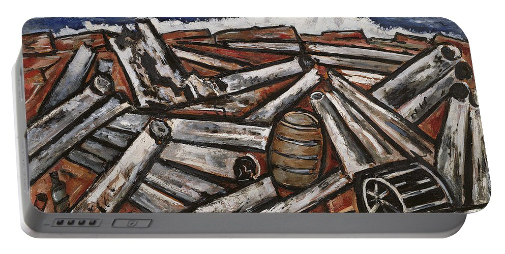"""logjam (backwaters Up Millinocket Way No. 3) By Marsden Hartley Portable Battery Charger featuring the painting Logjam by MotionAge Designs"
