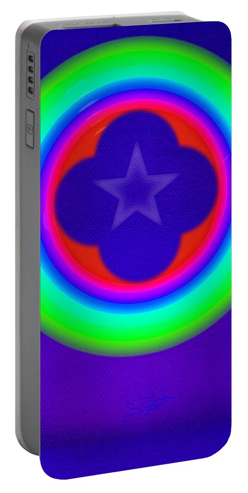Abstract Portable Battery Charger featuring the painting Logos by Charles Stuart