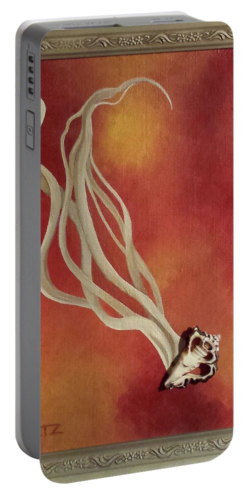 Shell Abstract Orange Yellow Cream Silver Frame Portable Battery Charger featuring the painting Loiter Quickly by Beth Waltz