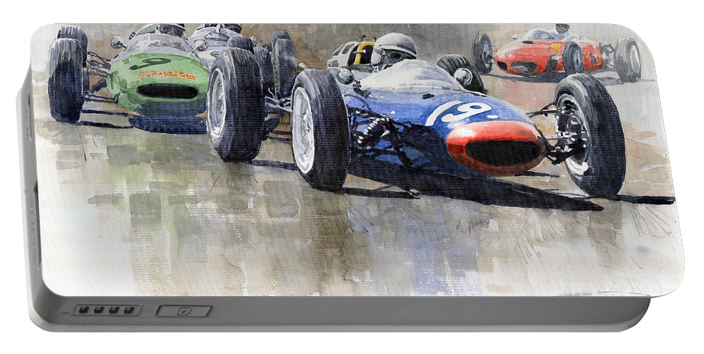 Automotive Portable Battery Charger featuring the painting Lola Lotus Cooper Ferrari Datch Gp 1962 by Yuriy Shevchuk