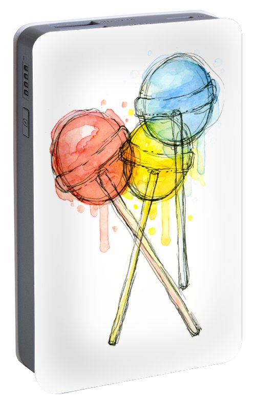 Lollipop Portable Battery Charger featuring the painting Lollipop Candy Watercolor by Olga Shvartsur