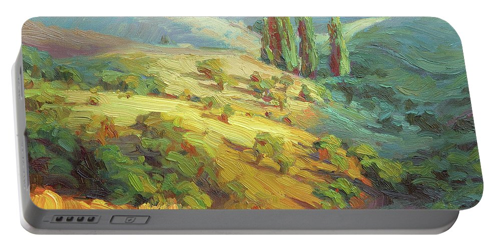 Country Portable Battery Charger featuring the painting Lombardy Homestead by Steve Henderson