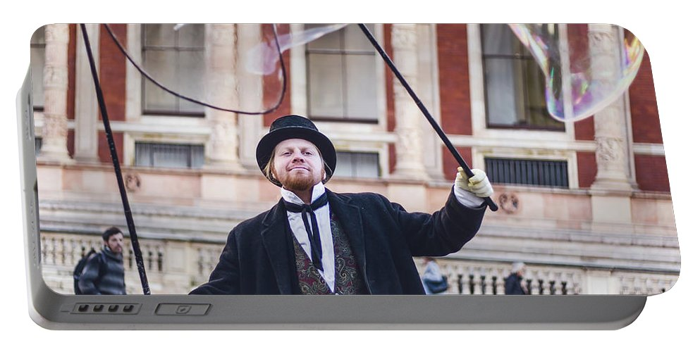 Street Artist Portable Battery Charger featuring the photograph London Bubbles 7 by Alex Art and Photo
