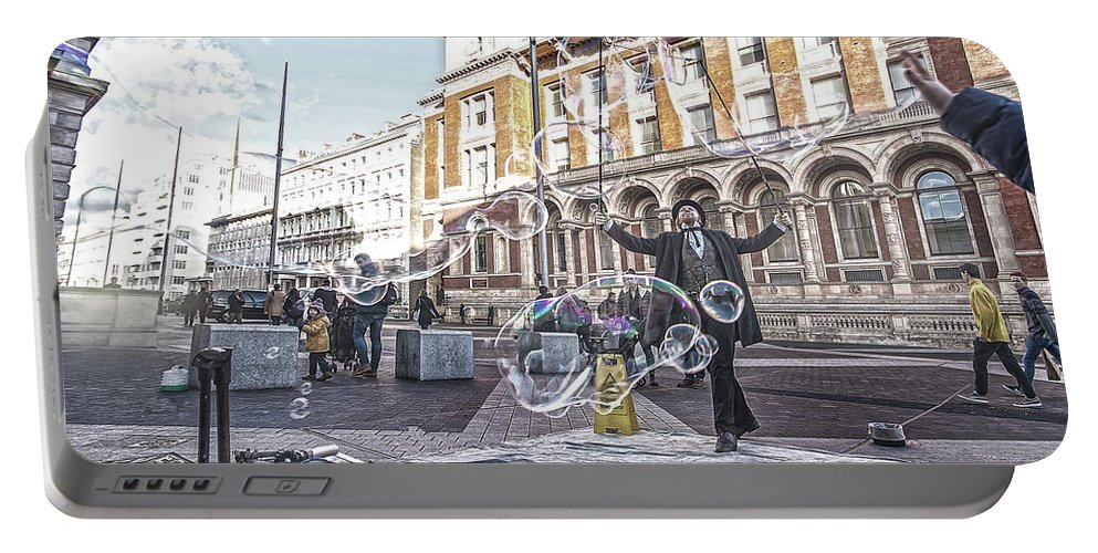 Street Artist Portable Battery Charger featuring the photograph London Bubbles 8 by Alex Art and Photo