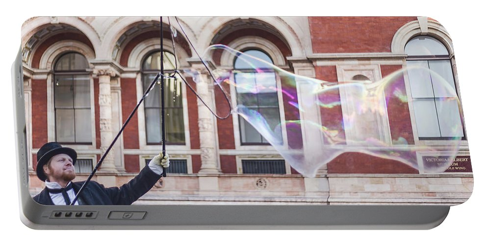 Street Artist Portable Battery Charger featuring the photograph London Bubbles 9 by Alex Art and Photo