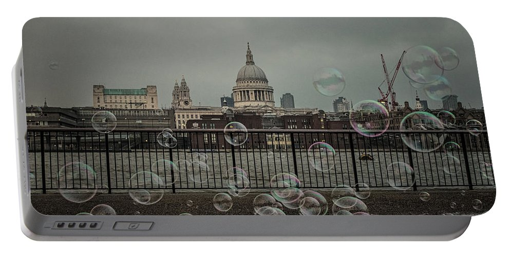 Vector Portable Battery Charger featuring the photograph London Bubbles by Martin Newman