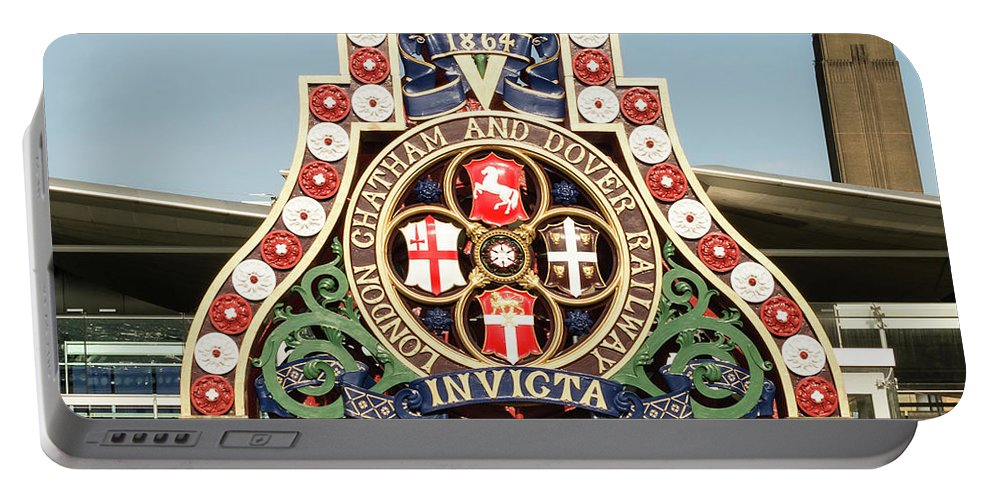 Architecture Portable Battery Charger featuring the photograph London Chatham And Dover Railway Crest With Invicta Motto Blackfriars Railway Station by Jacek Wojnarowski