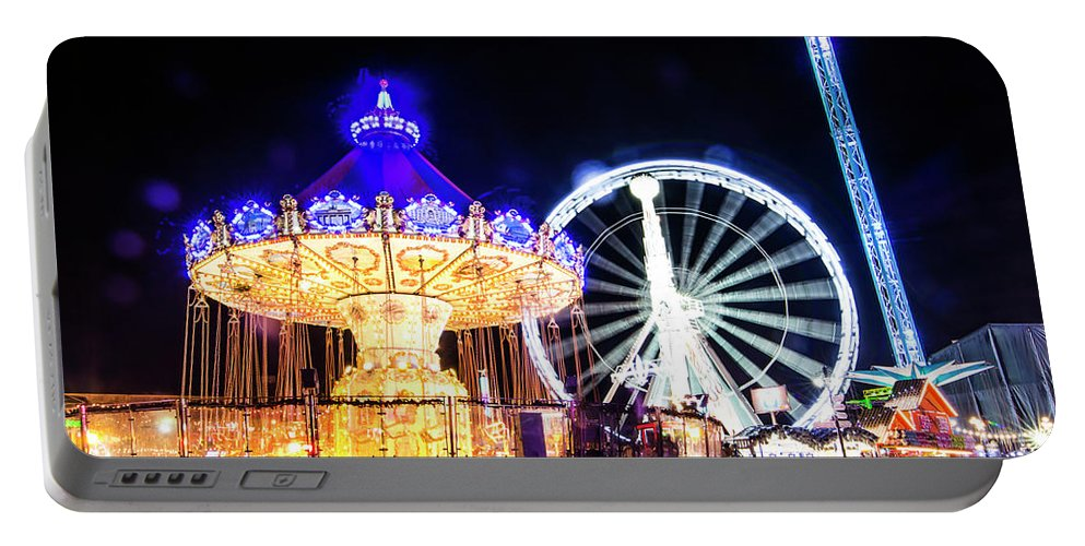 Street Artist Portable Battery Charger featuring the photograph London Christmas Markets 17 by Alex Art and Photo