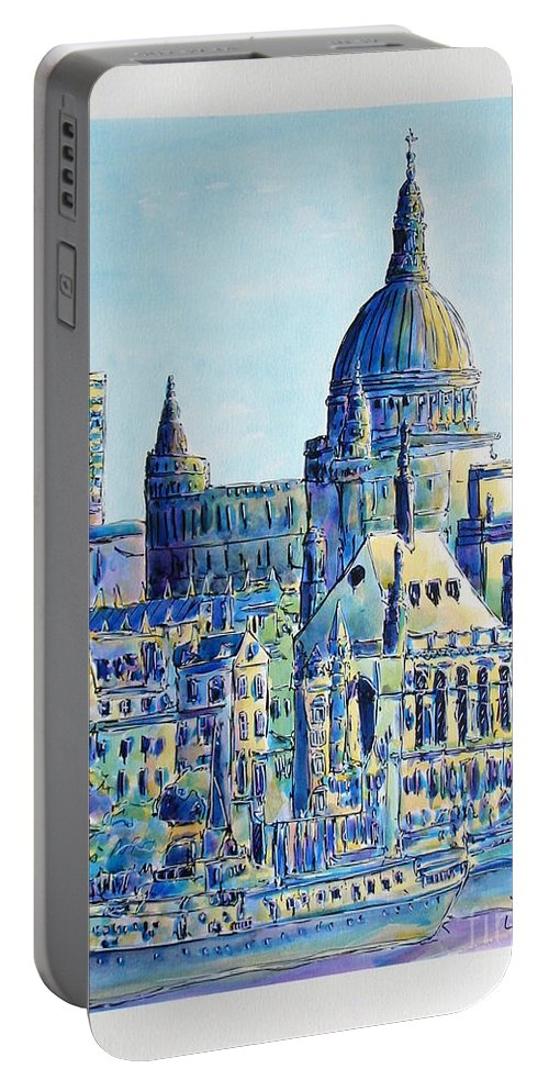 London Portable Battery Charger featuring the painting London City St Paul's Cathedral by Gracio Freitas