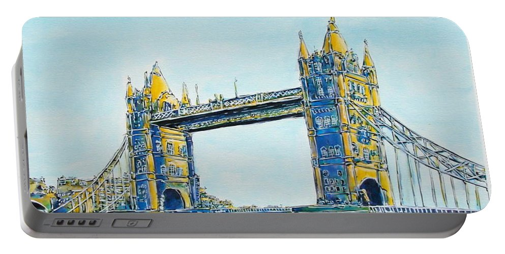 London Portable Battery Charger featuring the painting London City Tower Bridge by Gracio Freitas