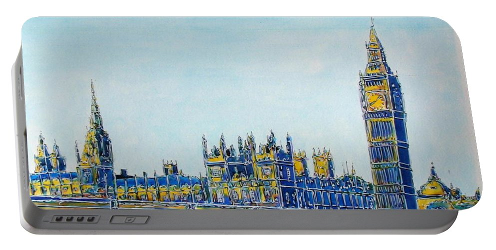 London Portable Battery Charger featuring the painting London City Westminster by Gracio Freitas