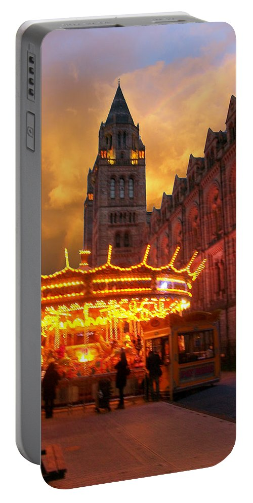 Portable Battery Charger featuring the photograph London Museum At Night by Munir Alawi