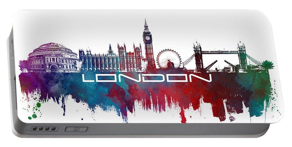 Skyline London Portable Battery Charger featuring the digital art London Skyline City Blue by Justyna JBJart