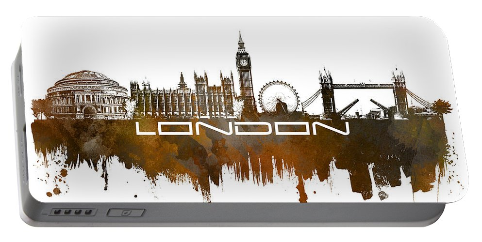 Skyline London Portable Battery Charger featuring the digital art London Skyline City Brown by Justyna JBJart