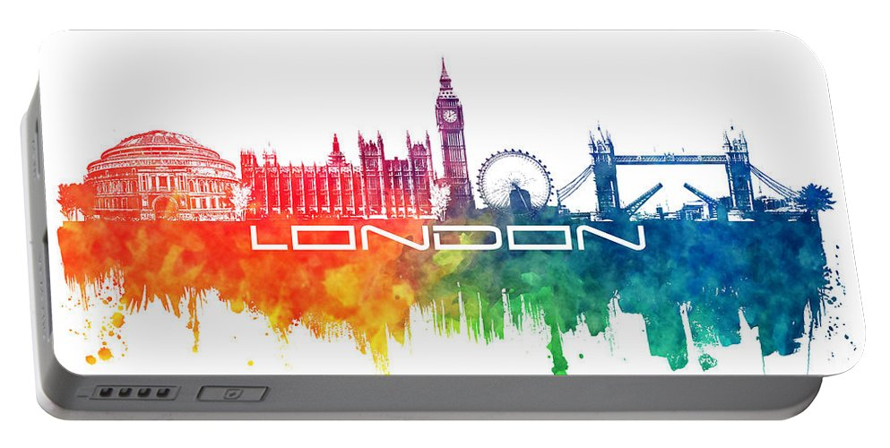 Skyline London Portable Battery Charger featuring the digital art London Skyline City Color by Justyna JBJart