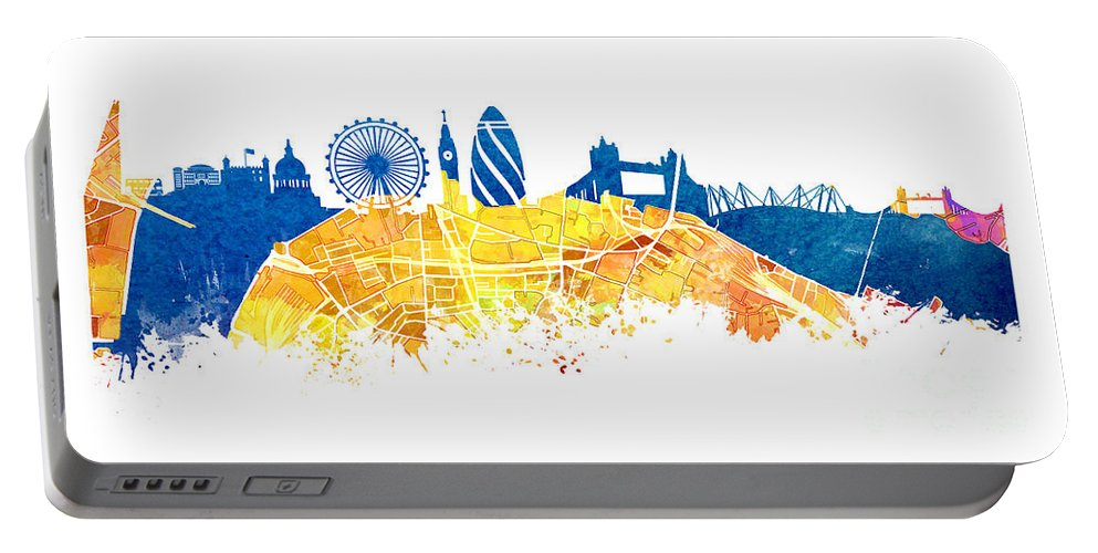 Skyline London Portable Battery Charger featuring the digital art London Skyline Map City London Eye by Justyna JBJart