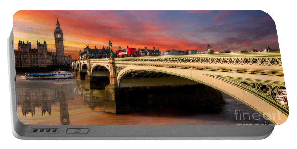 Sunset Portable Battery Charger featuring the photograph London Sunset by Adrian Evans
