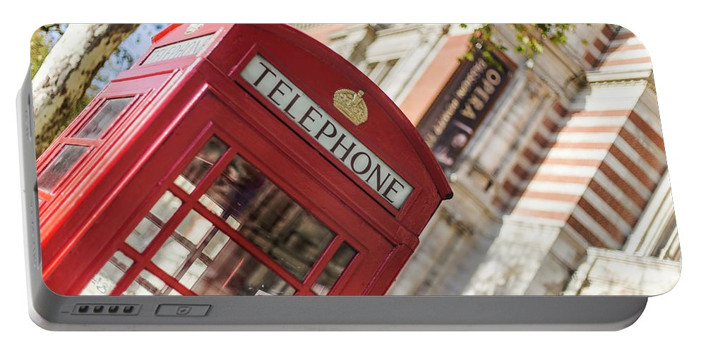 Big Ben Portable Battery Charger featuring the photograph London Telephone 3 by Alex Art and Photo