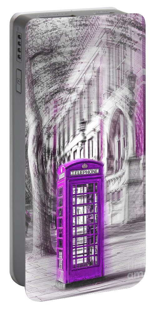 Victoria And Albert Museum Portable Battery Charger featuring the photograph London Telephone Purple by Alex Art and Photo