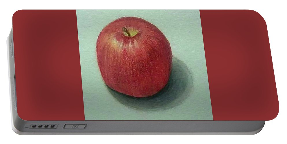 Portable Battery Charger featuring the drawing Lone Apple by Rob Greenwald
