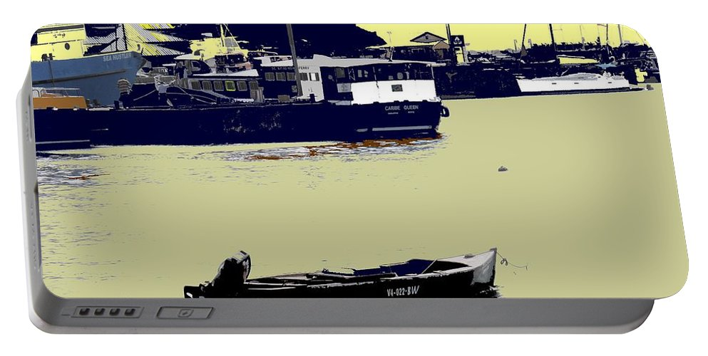 St Kitts Portable Battery Charger featuring the photograph Lone Boat by Ian MacDonald