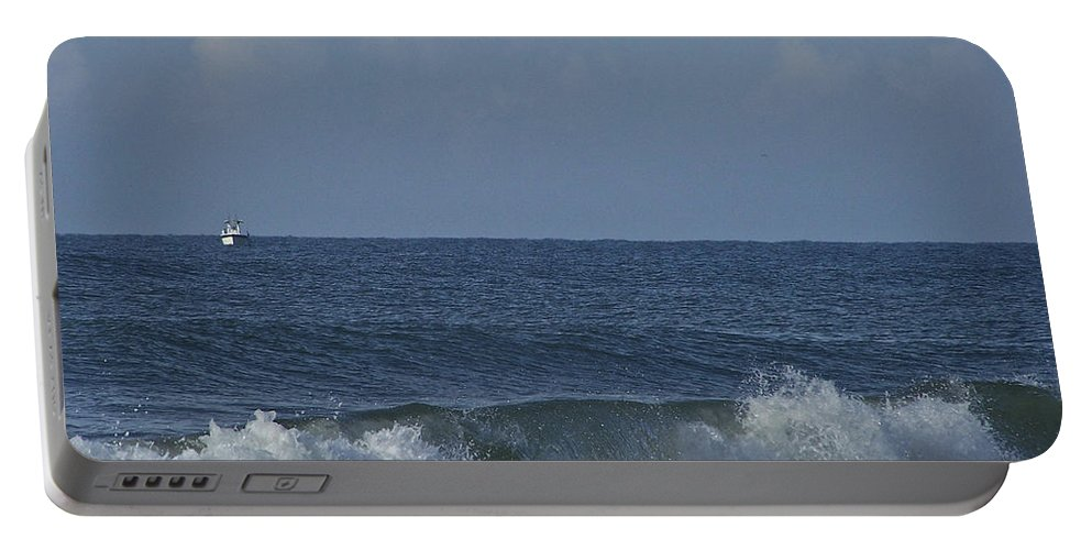 Boat Portable Battery Charger featuring the photograph Lone Boat On The Horizon by Teresa Mucha