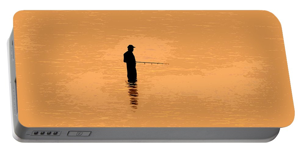 Fishing Portable Battery Charger featuring the painting Lone Fisherman by David Lee Thompson