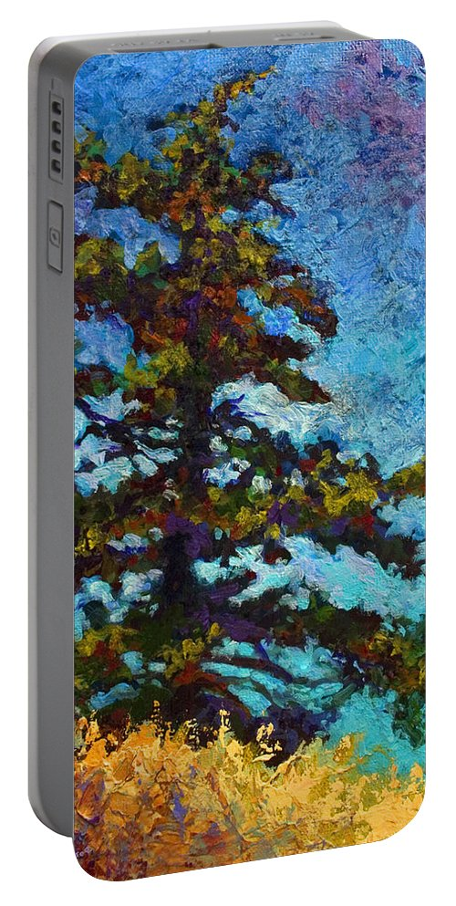 Trees Portable Battery Charger featuring the painting Lone Pine II by Marion Rose