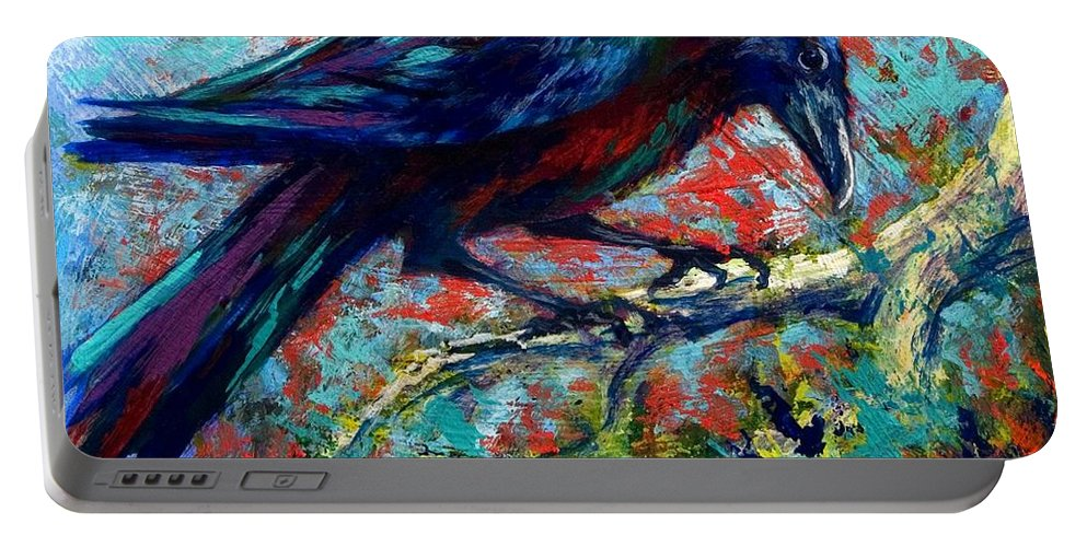 Crows Portable Battery Charger featuring the painting Lone Raven by Marion Rose