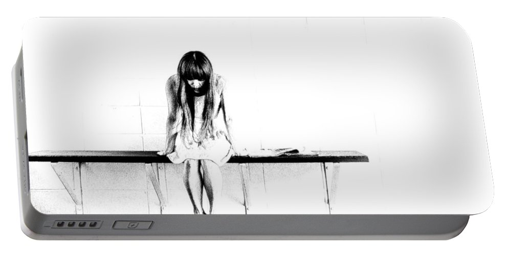 Chair - Woman - Black And White - Decoration - Sad - Sit - Beauty - Hair - Portable Battery Charger featuring the digital art Loneliness by Lyriel Lyra