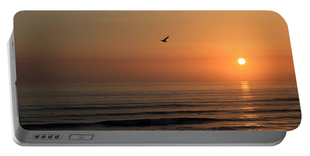 Bird Fly Flight Gull Alone Sun Sunrise Sky Ocean Wave Reflection Nature Golden Gold Portable Battery Charger featuring the photograph Lonely Flight by Andrei Shliakhau