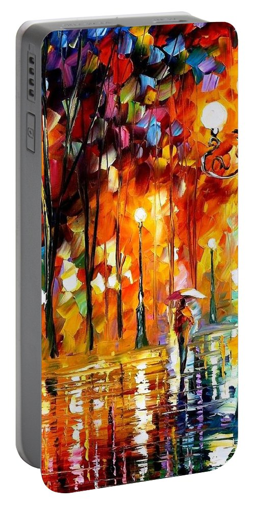 Art Gallery Portable Battery Charger featuring the painting Lonely Night 3 - Palette Knife Oil Painting On Canvas By Leonid Afremov by Leonid Afremov