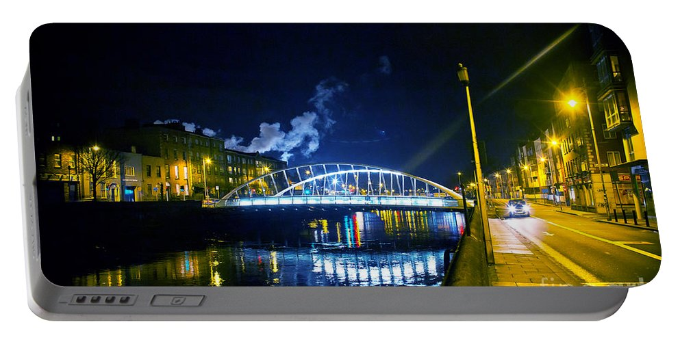 Guinness Storehouse Smoke Portable Battery Charger featuring the photograph Lonely Night by Alex Art and Photo