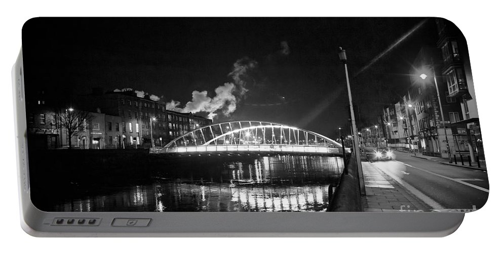 Guinness Storehouse Smoke Portable Battery Charger featuring the photograph Lonely Night Bw by Alex Art and Photo