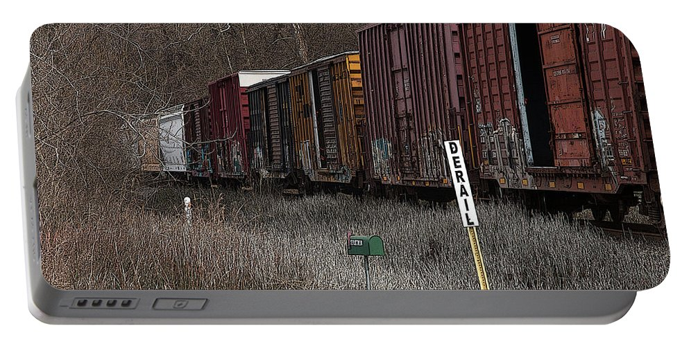 Train Portable Battery Charger featuring the photograph Lonely Traveler by Beth Bonham