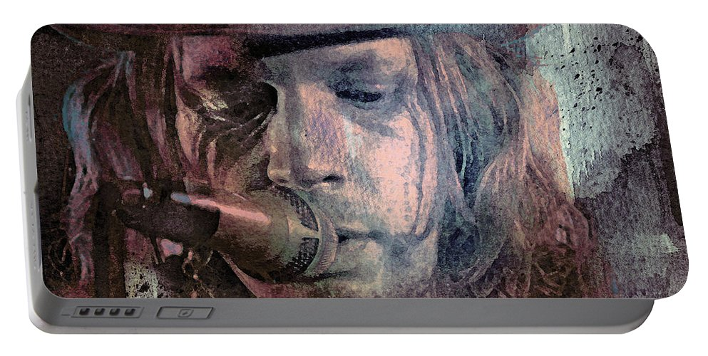 Beck Portable Battery Charger featuring the mixed media Lonesome Tears by Mal Bray