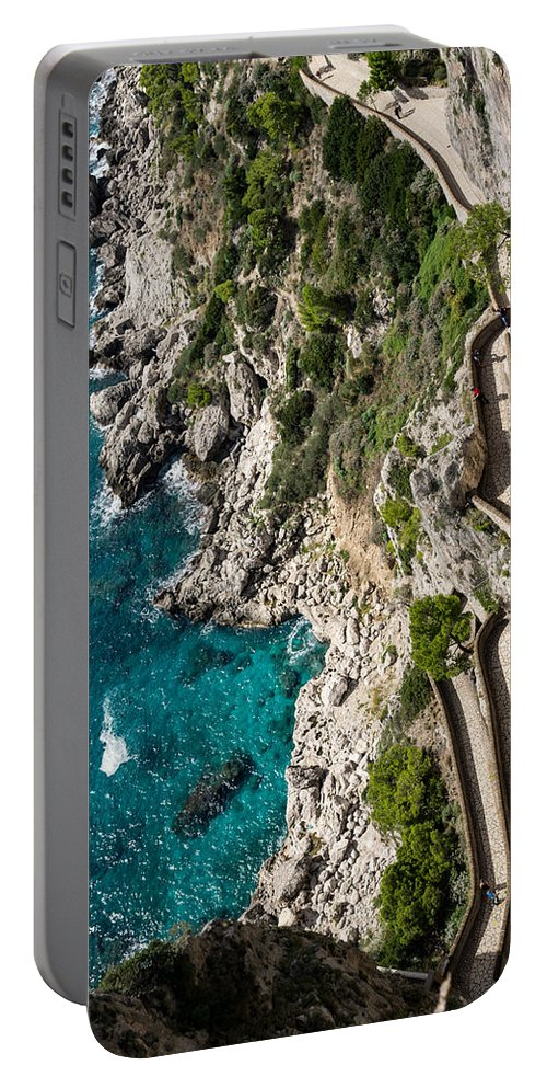Georgia Mizuleva Portable Battery Charger featuring the photograph Long And Twisted Walk To The Shore - Azure Magic Of Capri by Georgia Mizuleva