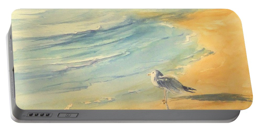 Watercolor Portable Battery Charger featuring the painting Long Beach Bird by Debbie Lewis