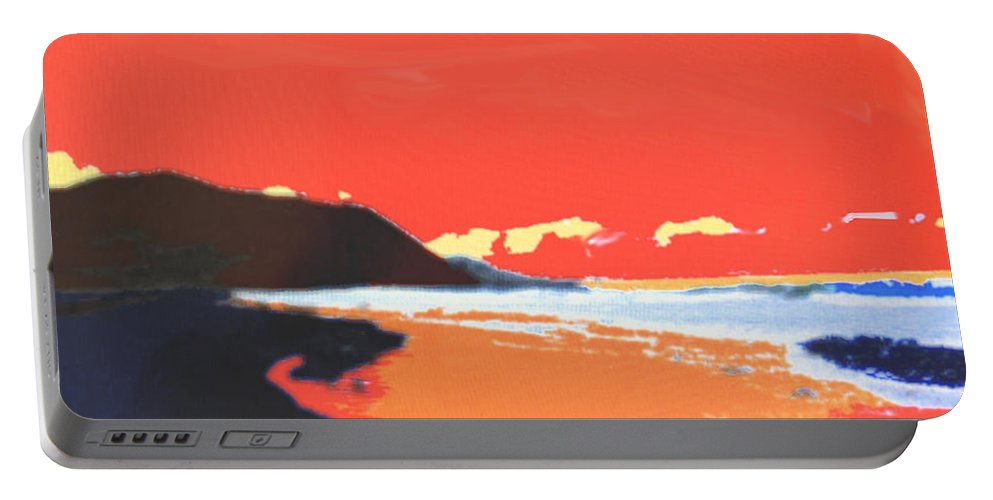 Beach Portable Battery Charger featuring the digital art Long Blue Beach by Ian MacDonald