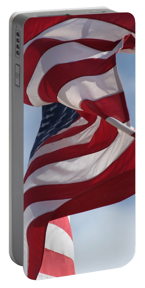 Flag Portable Battery Charger featuring the photograph Long May She Wave by Lauri Novak